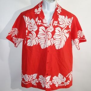 Vintage 70s Hilo Hattie Men's Red Floral Hawaiian